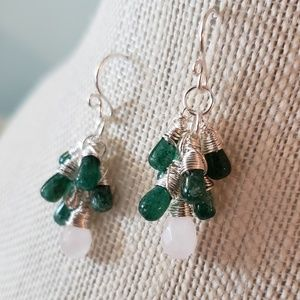 Artisan Wire Wrapped Green Cluster Earrings